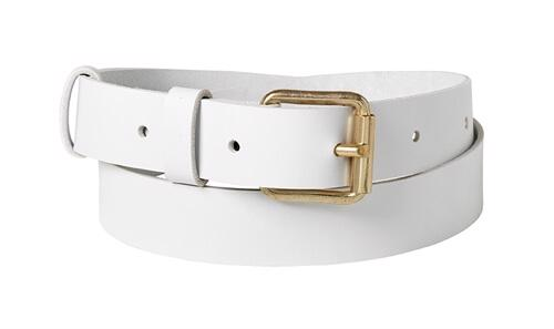 Classic Leather Belt <br /> White leather with brass details