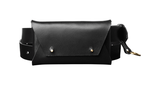 Leather Belt Bag • <br />  Black leather with brass details