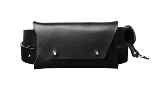 Leather Belt Bag • <br />  Black leather with silver details