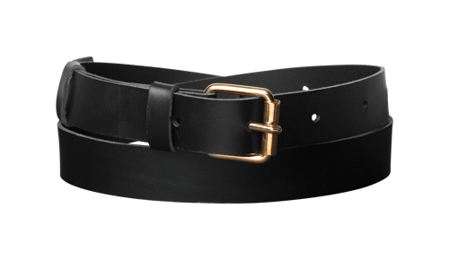 Classic Leather Belt <br /> Black leather with brass details