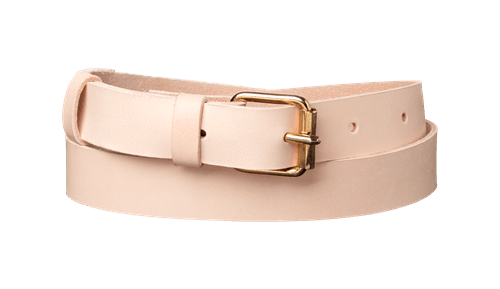 Classic Leather Belt <br />  Nature tanned leather with brass details