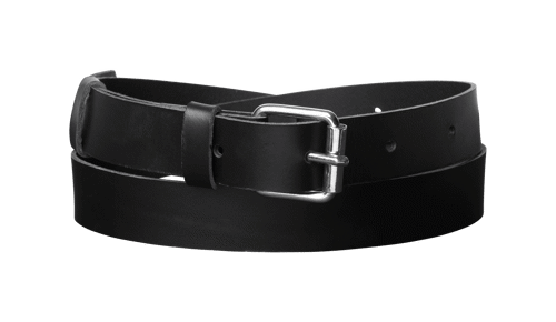Classic Leather Belt <br />  Black leather with silver details