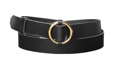 Ring Leather Belt <br />  Black leather with brass details