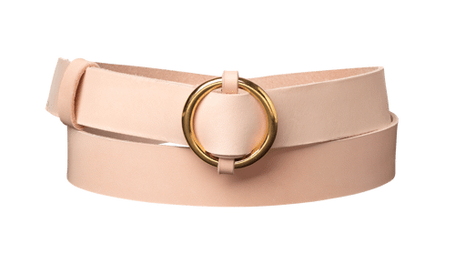 Ring Leather Belt <br />  nature tanned leather with brass details
