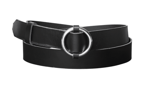 Ring Leather Belt <br />  Black leather with silver details