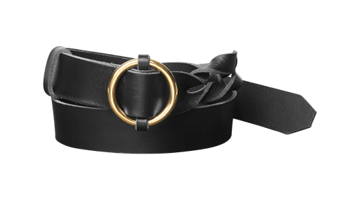 Twisted Leather Belt <br /> Black leather with brass details