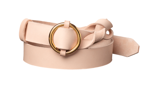 Twisted Leather Belt •  <br /> nature tanned leather with brass details
