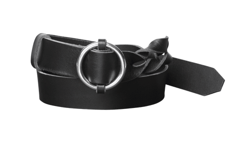 Twisted Leather Belt <br /> Black leather with silver details