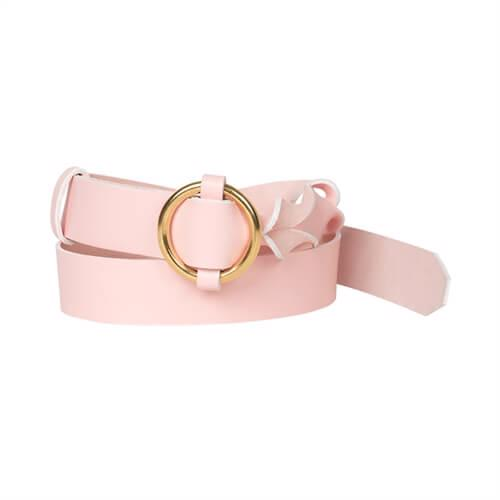 Twisted Leather Belt <br /> Rose leather with brass details