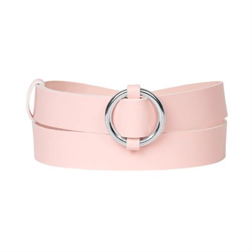 Ring Leather Belt <br />  Rose leather with silver details