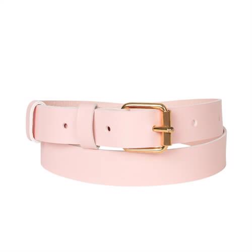 Ring Leather Belt <br />  Rose leather with brass details