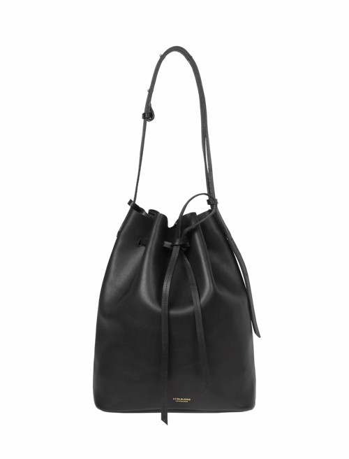 Bucket Bag <br /> Sort læder med messingdetaljer