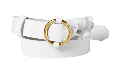 Twisted Leather Belt <br /> White leather with brass details
