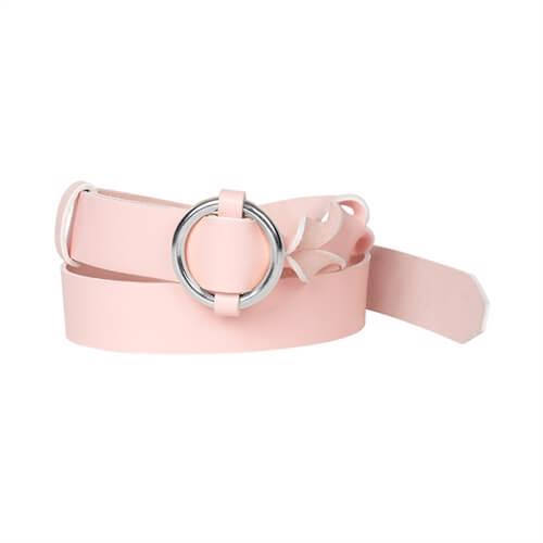 Twisted Leather Belt <br /> Rose leather with silver details